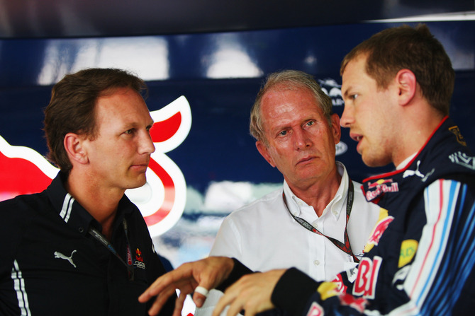 Christian Horner and Sebastian Vettel will be pushing for the next three races to win the championship