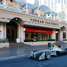 Test driver Lucas di Grasi drove the car on the Las Vegas strip for the test