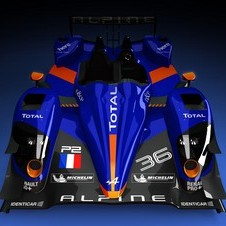 The livery has the classic blue and orange Alpine colors.