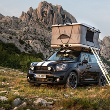 The Countryman Camp comes with a rooftop, popup tent and bike rack