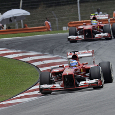 Alonso and Massa managed second and third  in last lap sprints