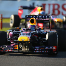 The push by Red Bull came late in the race, but it was enough to take first and second