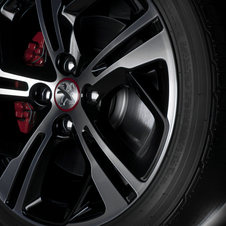 The GTi has red-acceneted wheels