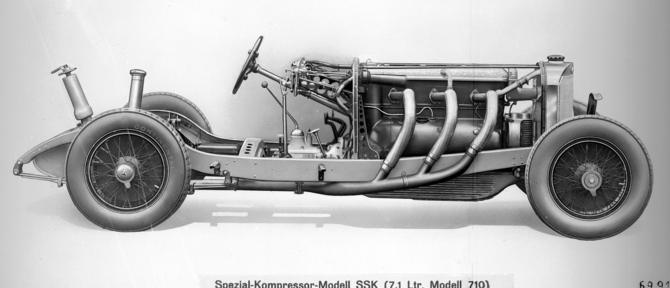 The SSK used a supercharged six-cylinder with 250hp