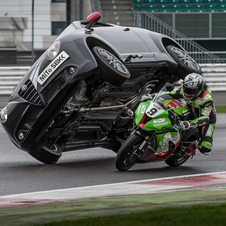 For this year, it completed a stunt where a superbike passed a Mito while the car was on two wheels