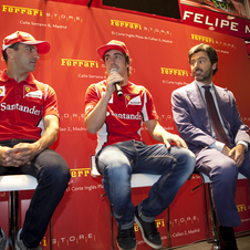 Alsonso during the opening of the Ferrari store in Madrid