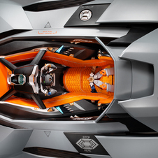 The interior features carbon fiber, aluminum and leather seating with a single instrument cluster