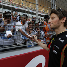 Romain Grosjean was third fastest in the second practice session