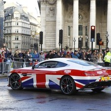 The Union Jack painted Vanquish Coupe was the star of Aston Martin's cars