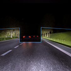 The system detects cars in frotn and shields the headlights away from them
