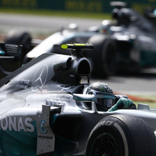 The two Mercedes competed once again against each other for the win