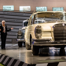 The exhibit begins before the S-Class existed and runs until the newest model