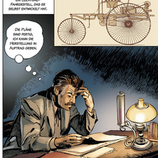The comic tells the story of Benz's life over 52 pages