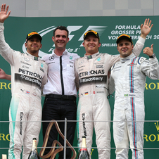 Hamilton and Massa were side by side with the German on the Austrian podium