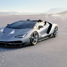 The Centenario Roadster is powered by a naturally aspirated V12 6.5-litre engine with 770hp at 8600rpm