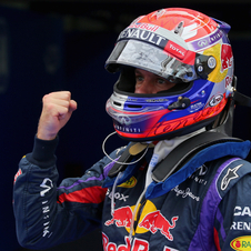 Vettel celebrates his third consecutive pole position