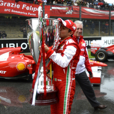 Massa received a 120cm high cup engraved with his 11 wins for his service to the team