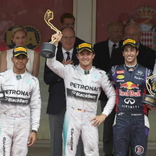 Lewis Hamilton and Daniel Ricciardo completed the podium in the principality