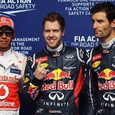 Vettel was first ahead of McLaren's Lewis Hamilton and his team-mate Mark Webber