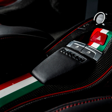The seats and center console have an Italian flag motif