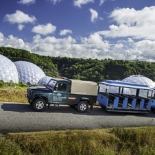 There are six electric Land Rover Defenders testing at the Eden Project to gather data