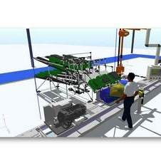 Then, it can position equipment around the factory virtually