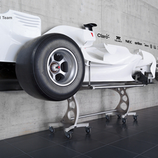 Half of the car is on display at the Sauber headquarters now