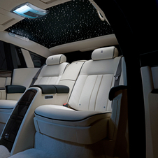 The rear seats are available with a starlight headliner that adds LEDs into the roof to look like stars