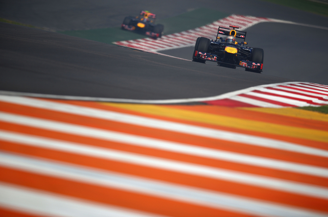 The Red Bull drivers will occupy the first row as Webber conquered second position