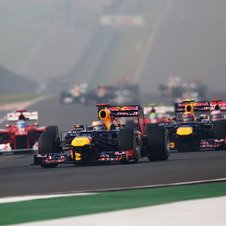 Vettel and Webber took first and third to extend Red Bull's lead