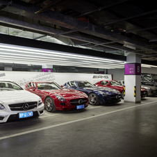 Cars are stored under the dealer for test drives or deliveries