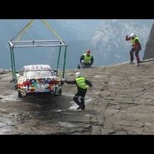 Spy shots of BMW Art Car: M3 GT2 by Jeff Koons on Pulpit Rock (Preikestolen), Norway