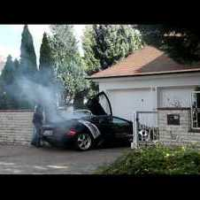 Crassly Stupid Neighbour with burning engine Lamborghini Murcielago after Gumpalm Racing